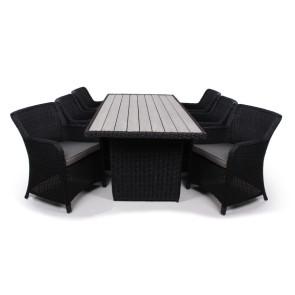 Siesta Sort Havemøbelsæt m/6 spisestole - 94x210 cm