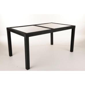 Loretta sort havebord  polyrattan og glasplade 90x150