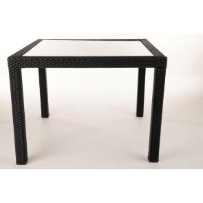 Loretta sort havebord  polyrattan og glasplade 100x100