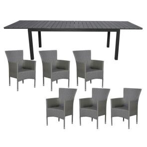 Cebu Havemøbelsæt Grå m/udtræksbord