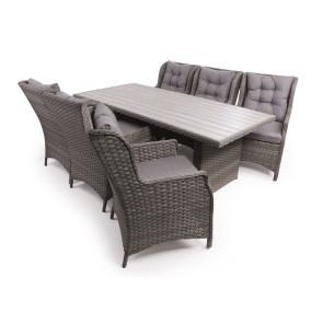 Siesta Grå Havemøbelsæt m/6 lounge stole - 94x210 cm