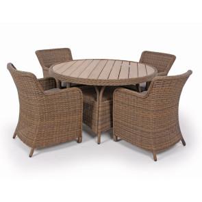 Siesta Dusty Havemøbelsæt m/4 spisestole - Ø 130 cm